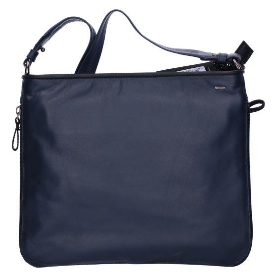 005-840 Tas soft blauw/zwart leer expandible