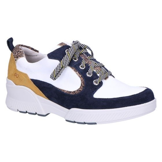 6232 Sneaker wit/blauw/oker