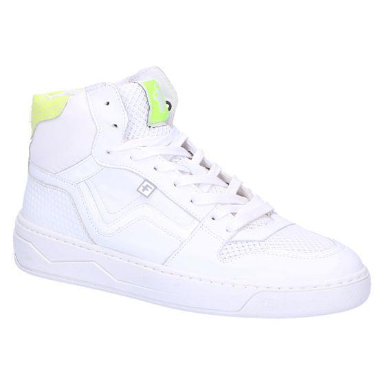 85329/00 Sneaker halfhoog wit print leer