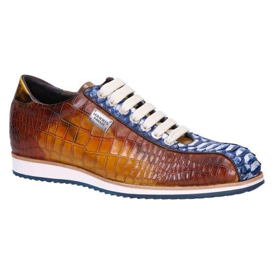 0607 Sneaker pitone blue cocco 21 giallo cognac