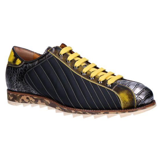 0845 Sneaker nero giallo metal cocco