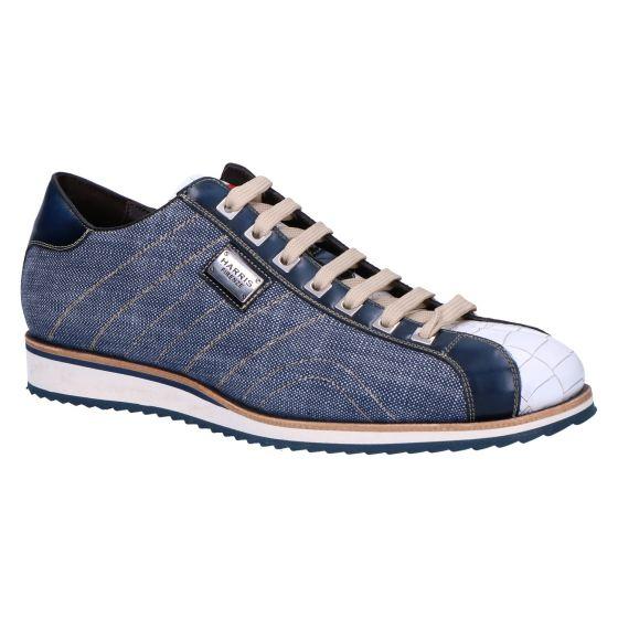 0894 Sneaker tela jeans cocco bianco