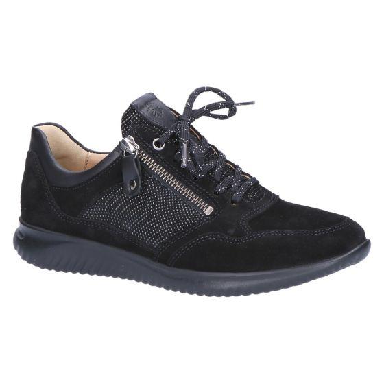 113162 Sneaker zwart suede dessin