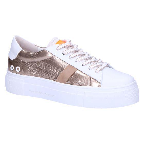31-22490 Sneaker wit/taupe fluo oranje