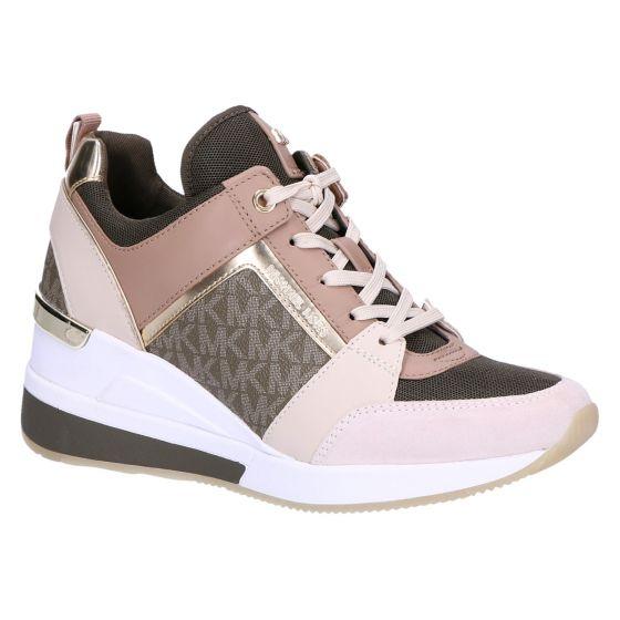 Georgie Trainer Sneaker sleehak beige kaki logo mu