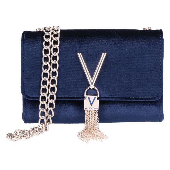 Marilyn Tas/Clutch blauw velvet/fluweel 17x11.5x4