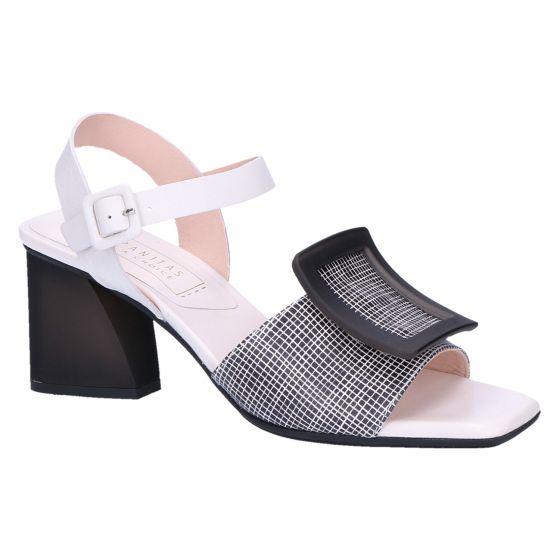 HV00047 Sandaal zwart wit dessin 6.5 cm