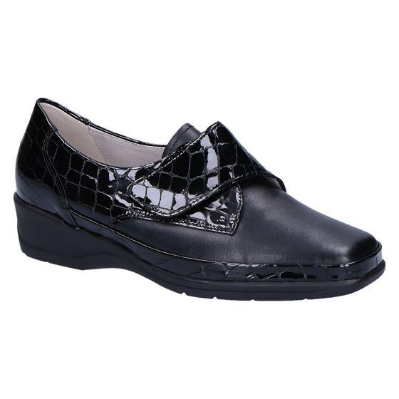 Herta klitteband schwarz met kroko