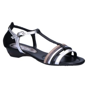 17909 Sandaal zwart/zilver/beige