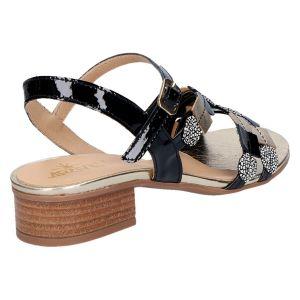 31922 Sandaal zwart lak/goud 2.5 cm