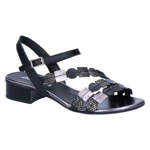 31922 Sandaal zwart/grijs kombi 2.5 cm
