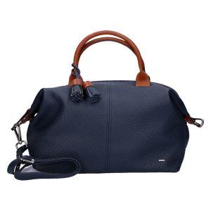 125-101 Handtas blauw/cognac 31x21 cm
