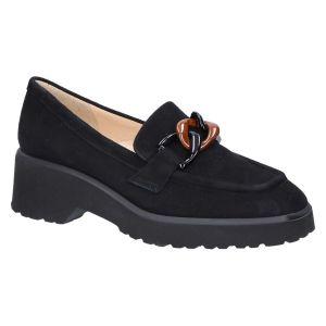 32077 Loafer zwart suede ketting