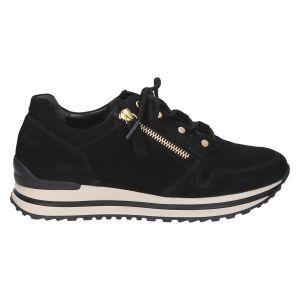 76.527 Sneaker zwart  gold suede