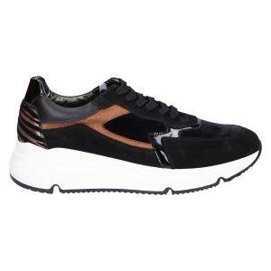 D1473 Sneaker zwart brons suede/lak