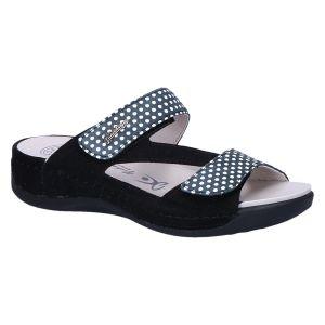 2260 Slipper klitteband zwart wit polkadot