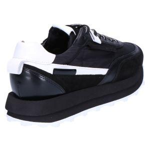 41-19210 Sneaker zwart wit leer/nylon/suede