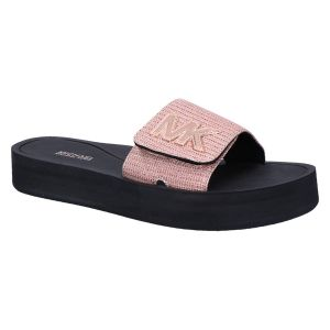 MK platform slide rose gold glitter