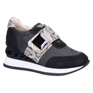 8683 Sneaker klitteband zwart/beige