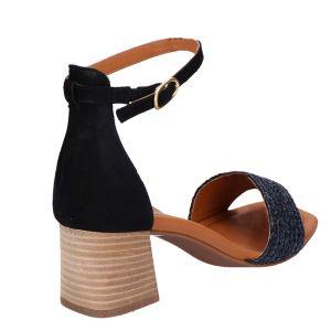 7788 Sandaal zwart vlecht 5.5 cm