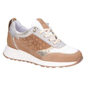2507 Sneaker taupe/camel kombi vlecht