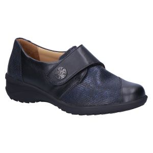 42003 Karo Klitteband zwart blauw leer/snake