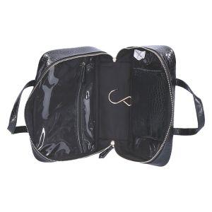 Grote Cosmetic Case zwart kroko 27x19x10 cm