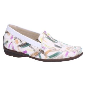 431000 Harriet Mocassin ecru multicolour snake