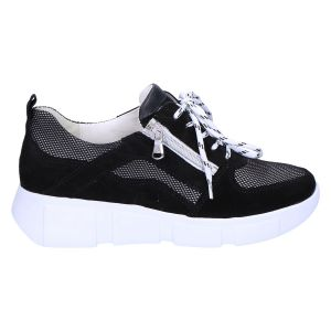 735001 H-Lou Sneaker zwart wit suede